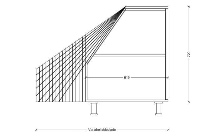 Udklip tværsnit fritstående lav med synlig sideplade